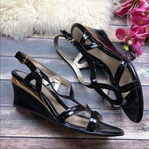 11 Wide Black Patent Leather Comfort Sandals